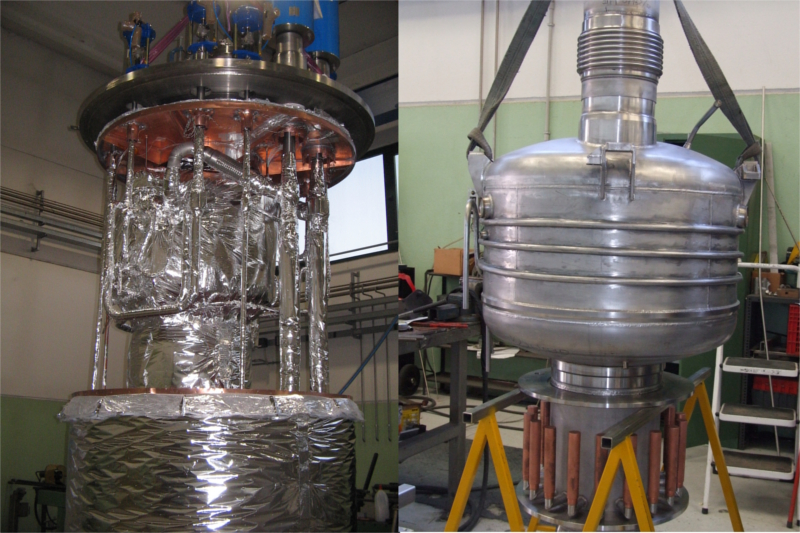 Superfluid liquid helium cryostat and distribution valve box for SEHT project
